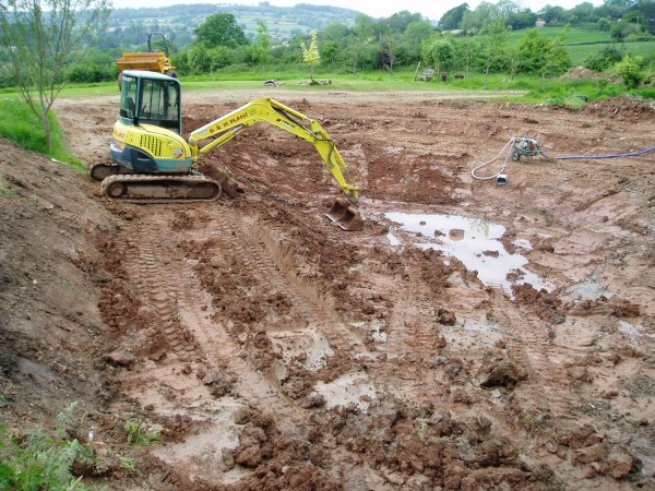 Excavation of a pond near Honiton
